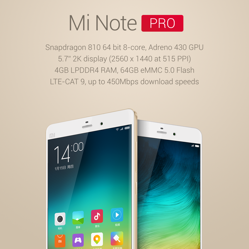 Mi note pro specifications